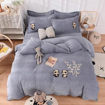 2020新款-保暖双面牛奶绒毛巾绣系列四件套 床单款四件套1.5m(5英尺)床 你好熊猫-灰