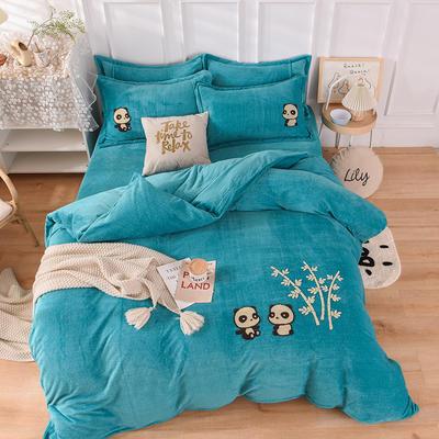 2020新款-保暖双面牛奶绒毛巾绣系列四件套 床单款四件套1.5m(5英尺)床 你好熊猫-孔蓝