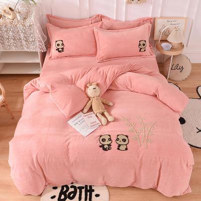 2020新款-保暖双面牛奶绒毛巾绣系列四件套 床单款四件套1.5m(5英尺)床 你好熊猫-玉