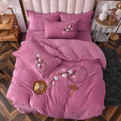 2020新款-保暖双面牛奶绒毛巾绣系列四件套 床单款四件套1.5m(5英尺)床 十里桃花-豆沙