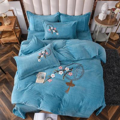 2020新款-保暖双面牛奶绒毛巾绣系列四件套 床单款四件套1.5m(5英尺)床 十里桃花-湖蓝