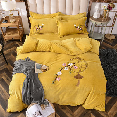 2020新款-保暖双面牛奶绒毛巾绣系列四件套 床单款四件套1.5m(5英尺)床 十里桃花-暖黄
