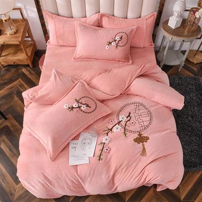 2020新款-保暖双面牛奶绒毛巾绣系列四件套 床单款四件套1.5m(5英尺)床 十里桃花-玉