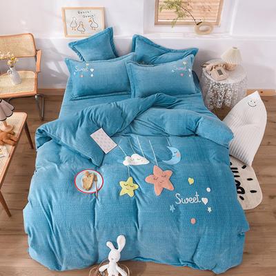2020新款-保暖双面牛奶绒毛巾绣系列四件套 床单款四件套1.5m(5英尺)床 甜蜜梦乡-湖蓝