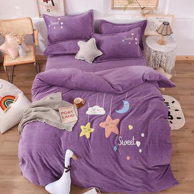 2020新款-保暖双面牛奶绒毛巾绣系列四件套 床单款四件套1.5m(5英尺)床 甜蜜梦乡-梦幻紫