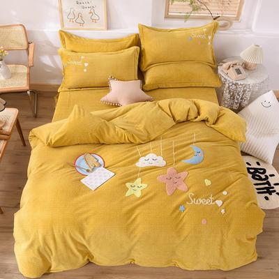 2020新款-保暖双面牛奶绒毛巾绣系列四件套 床单款四件套1.5m(5英尺)床 甜蜜梦乡-暖黄