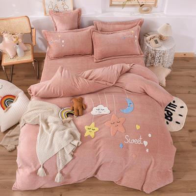 2020新款-保暖双面牛奶绒毛巾绣系列四件套 床单款四件套1.5m(5英尺)床 甜蜜梦乡-驼