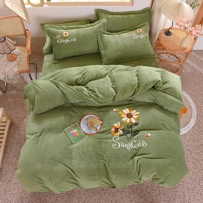 2020新款-保暖双面牛奶绒毛巾绣系列四件套 床单款四件套1.5m(5英尺)床 向日葵-果绿
