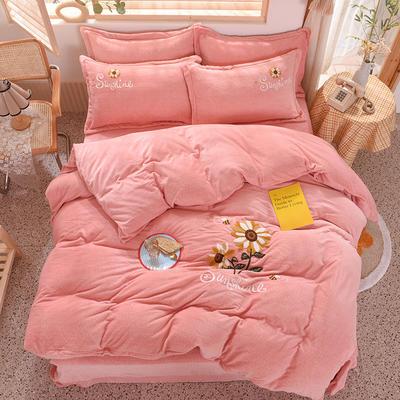 2020新款-保暖双面牛奶绒毛巾绣系列四件套 床单款四件套1.5m(5英尺)床 向日葵-玉