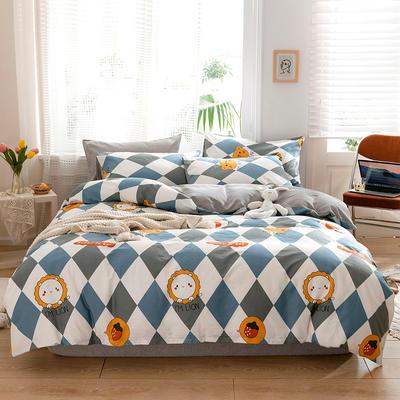 20款 全棉13372北欧风印花四件套花卉条纹格子学生三件套 1.2m床单款三件套 小伙伴