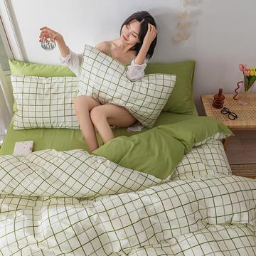 20新款-全棉13372民宿风系列四件套 简约条纹格子床单款床笠款