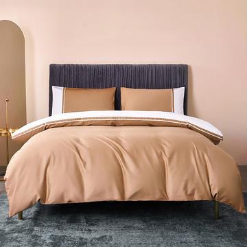 2021年新款-60支长绒棉酒店风系列四件套全棉纯棉高端贡缎纯色拼色