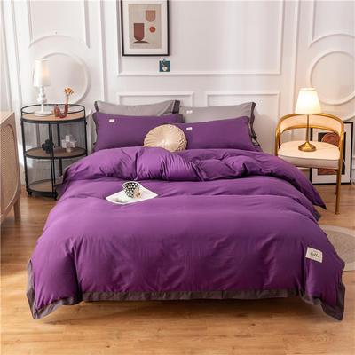 全棉色布拼角工艺款四件套 纯棉长绒棉纯色学生宿舍三件套 1.5m床单款四件套 简爱-梦幻紫