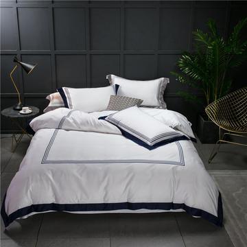 2021新款- 100支长绒棉刺绣-五星级酒店系列 贡缎匹马棉纯白色布草