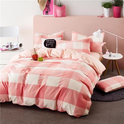 色织水洗棉条纹系四件套 1.8m(6英尺)床 062-1(粉白大格-玉色)