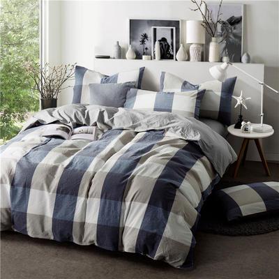 色织水洗棉条纹系四件套 1.8m(6英尺)床 087(丈兰大格-灰驼)
