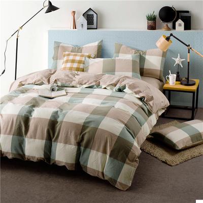 色织水洗棉条纹系四件套 1.5m(5英尺)床 088-2(绿灰大格-红驼)