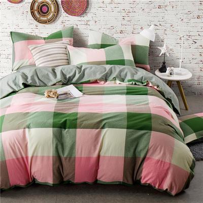 色织水洗棉条纹系四件套 2.0m(6.6英尺)床 089-1(绿粉大格-中绿)