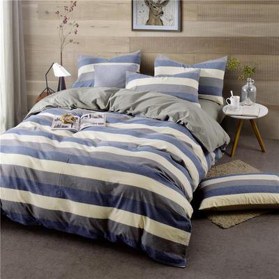 色织水洗棉条纹系四件套 1.5m(5英尺)床 090-2(兰灰宽条-银灰)