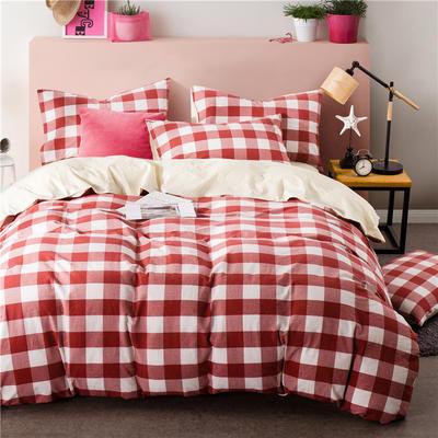 色织水洗棉条纹系四件套 1.8m(6英尺)床 091(中红方格-米黄)