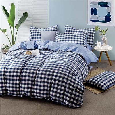 色织水洗棉条纹系四件套 1.8m(6英尺)床 092-1(蓝白中格-兰)