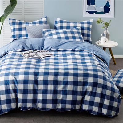 色织水洗棉条纹系四件套 1.5m(5英尺)床 092-2(中蓝方格-兰)