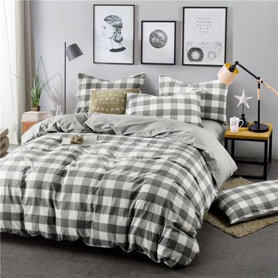 色织水洗棉条纹系四件套 1.8m(6英尺)床 094(中灰方格-灰)