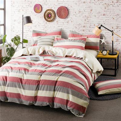 色织水洗棉条纹系四件套 1.8m(6英尺)床 097(红灰宽条-米黄)