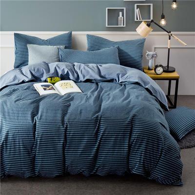 色织水洗棉条纹系四件套 1.8m(6英尺)床 Y-3-092(丈青条-兰)