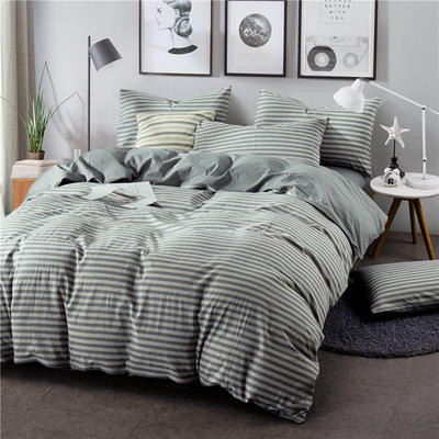 色织水洗棉条纹系四件套 1.8m(6英尺)床 Y-4-090(灰条-银灰)