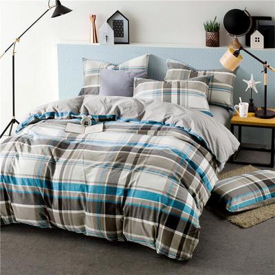 色织水洗棉条纹系四件套 1.8m(6英尺)床 Y-7-094(灰蓝条-灰)