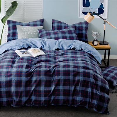 色织水洗棉条纹系四件套 1.8m(6英尺)床 Y-8-092(兰灰红格-兰)