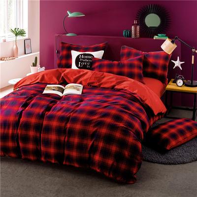 色织水洗棉条纹系四件套 1.8m(6英尺)床 Y-9(红兰格-大红)
