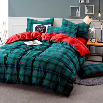色织水洗棉条纹系四件套 1.8m(6英尺)床 Y-10(兰绿格-大红)