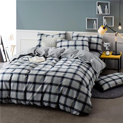 色织水洗棉条纹系四件套 1.8m(6英尺)床 Y-11-090(灰蓝格-银灰)