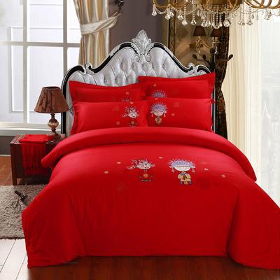 精梳棉绣花四件套系列 1.8m(6英尺)床 知己红颜