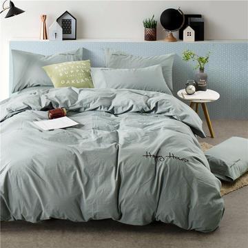 (新1)全棉色织水洗棉四件套 1.5m(5英尺)床 090(银灰)