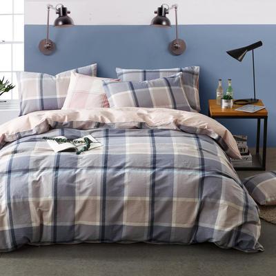 色织水洗棉条纹系四件套 1.8m(6英尺)床 奥克莱-浅粉