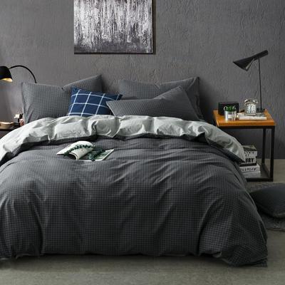 色织水洗棉条纹系四件套 1.8m(6英尺)床 潮格-银灰