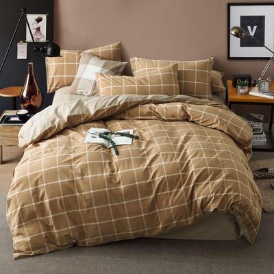色织水洗棉条纹系四件套 1.8m(6英尺)床 果冻咖-红驼