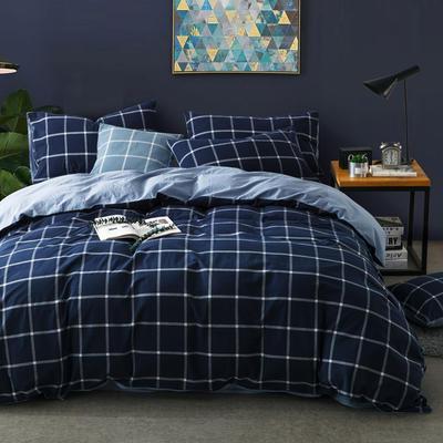 色织水洗棉条纹系四件套 1.8m(6英尺)床 果冻色-兰