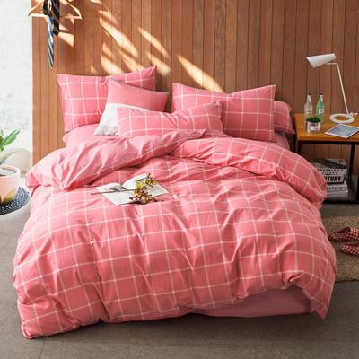 色织水洗棉条纹系四件套 1.8m(6英尺)床 果冻色-深粉