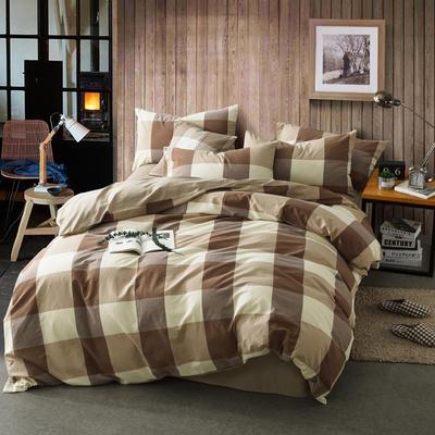 色织水洗棉条纹系四件套 1.8m(6英尺)床 咖大格-红驼