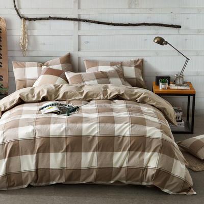色织水洗棉条纹系四件套 1.8m(6英尺)床 洛洛-红驼