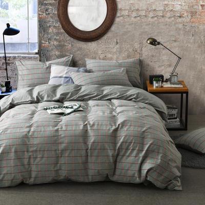 色织水洗棉条纹系四件套 1.8m(6英尺)床 莎士比亚-银灰