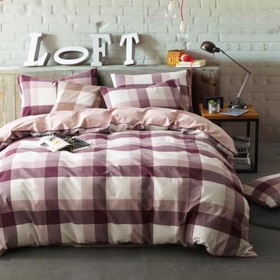 色织水洗棉条纹系四件套 1.8m(6英尺)床 思雨-浅粉