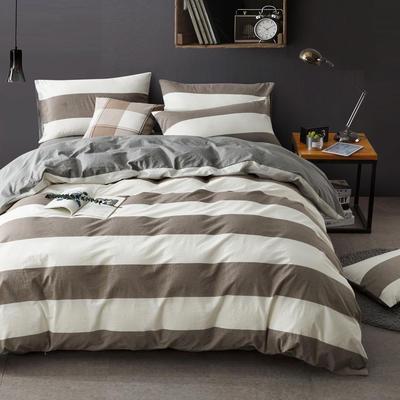 色织水洗棉条纹系四件套 1.8m(6英尺)床 四季如春-银灰