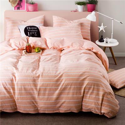 年全棉水洗棉纯色系三件套 1.0m(3.3英尺)床 062-2(玉宽白细条-玉色)