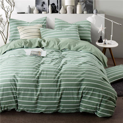 年全棉水洗棉纯色系三件套 1.0m(3.3英尺)床 089-2(绿宽白细条-中绿)