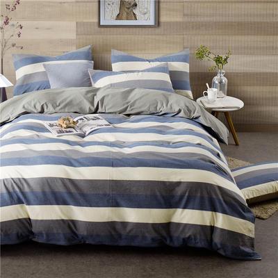 年全棉水洗棉纯色系三件套 1.0m(3.3英尺)床 090-2(兰灰宽条-银灰)